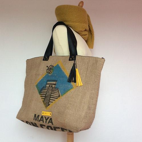 Sac Cabas en toile de jute recyclée d'un sac de café MAYA du Guatemala
