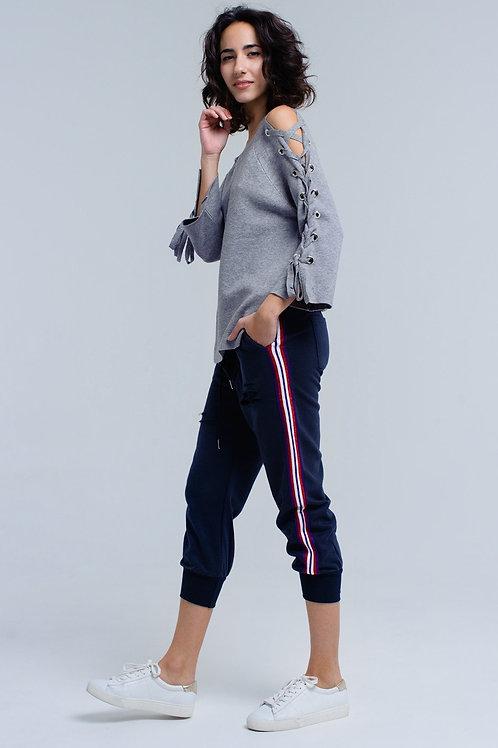 Navy Pants Wih Rips