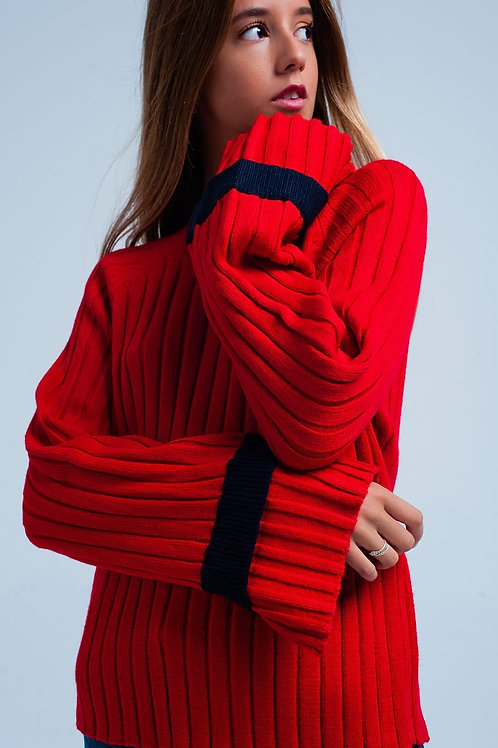 Red Flared Sleeve Knit Sweater