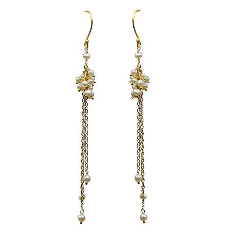 Pearl Cluster Vermeil Earrings