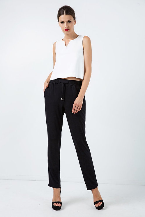 Long Jersey Pants With Tie Detail