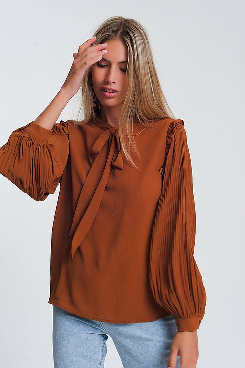 Blouse With Volume Sleeve and Tie Front Detail in Camel