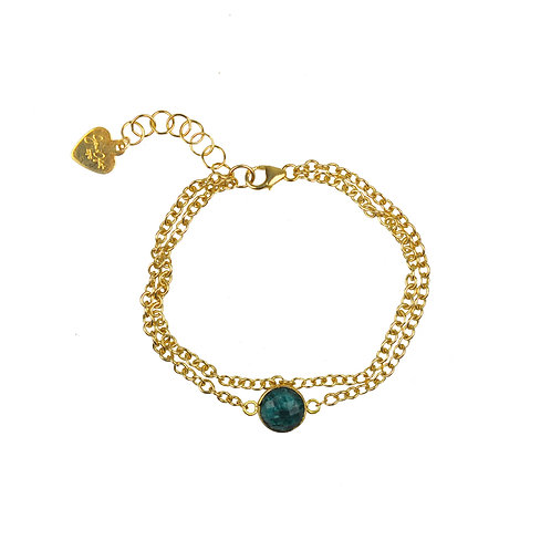 Emerald Vermeil Double Chain Bracelet