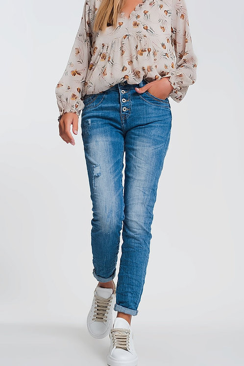 Wrinkled Boyfriend Jeans in Light Denim With Ripped Details