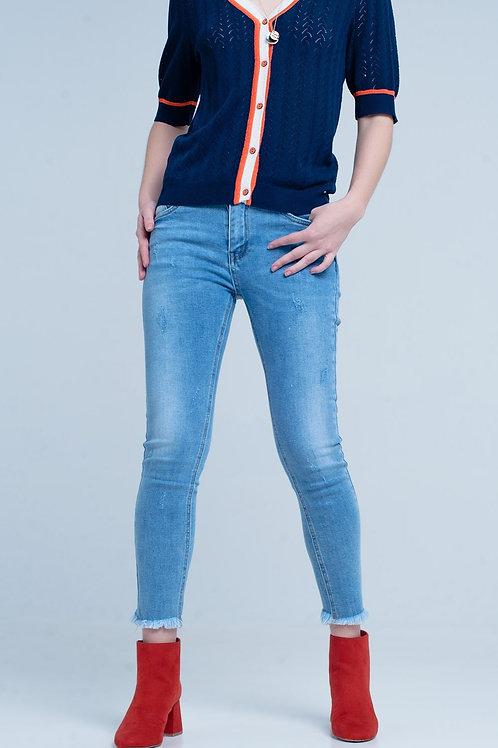 Blue Fringed Skinny Jeans