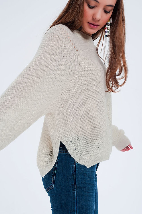 Sweater Ribbed Knitted With Round Neck