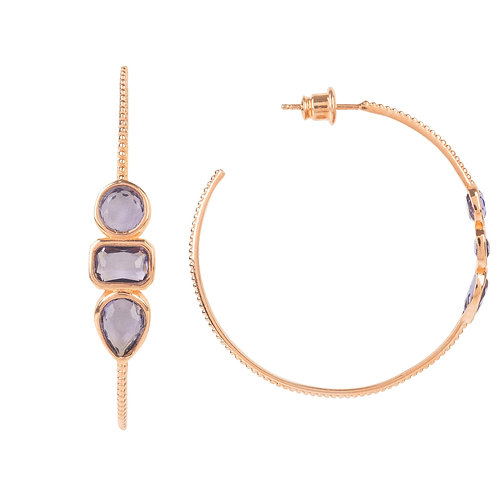 Venice Gemstone Hoop Earring Rose Gold Amethyst