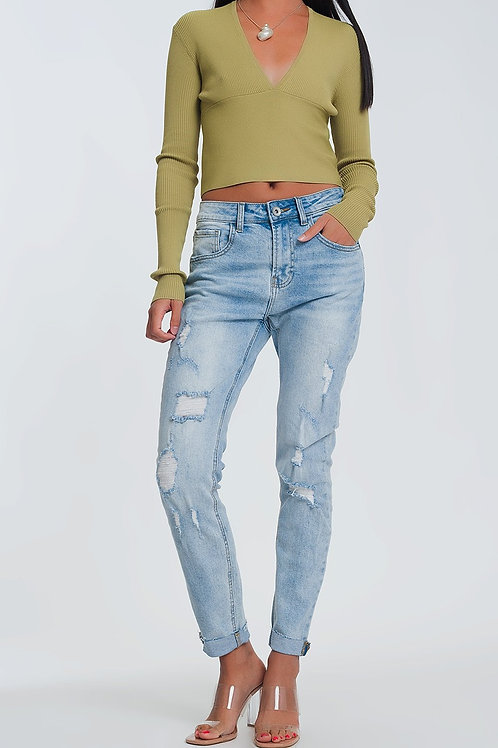 Ripped Boyfriend Jeans in Light Denim