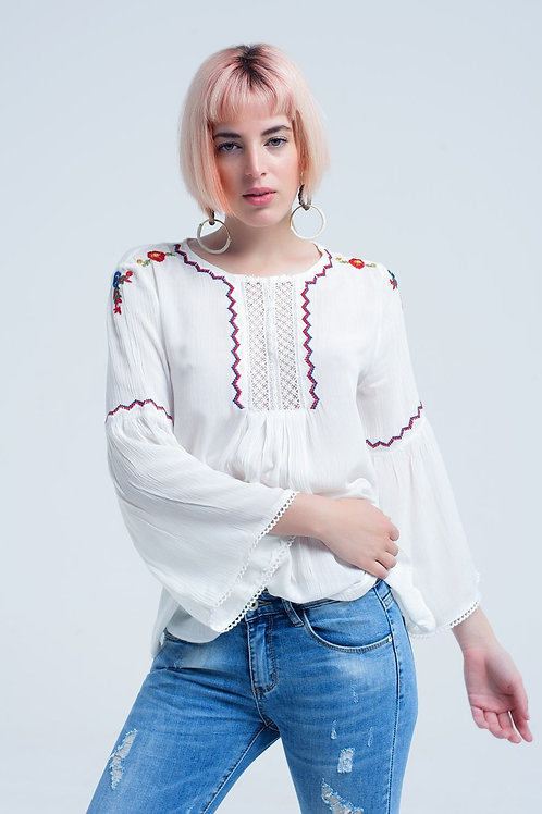 White Top With Embroidered Flowers and Lace