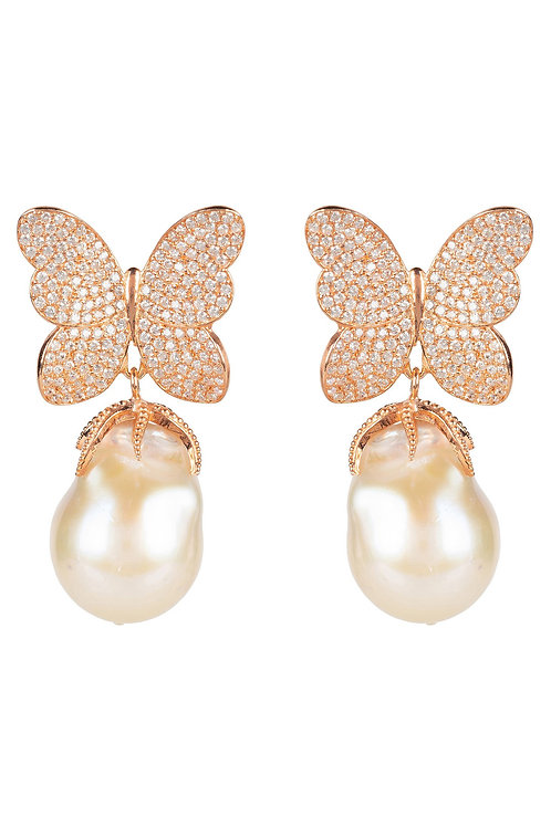 Baroque Pearl White Butterfly Earring Rosegold