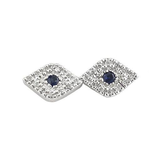 14k White Gold Sapphire & Diamond Evil Eye Stud Earrings