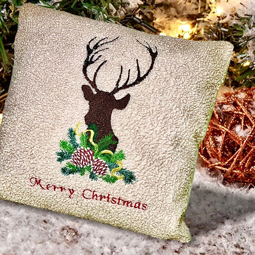Have a beautiful Christmas with this cozy embroidered deer pillow.