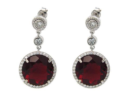 Silver Elegant Dark Red Cubic Zirconia Drop Earrings for Women