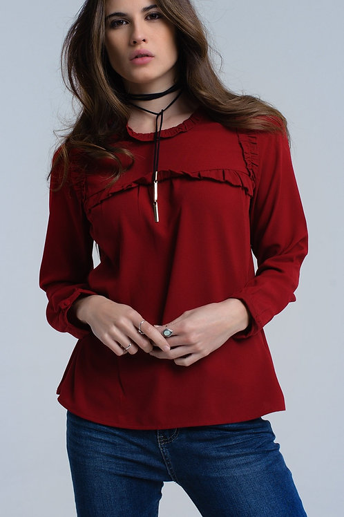 Red Shirt With Ruffle Detail