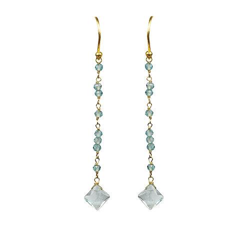 Aquamarine Linear Vermeil Earrings