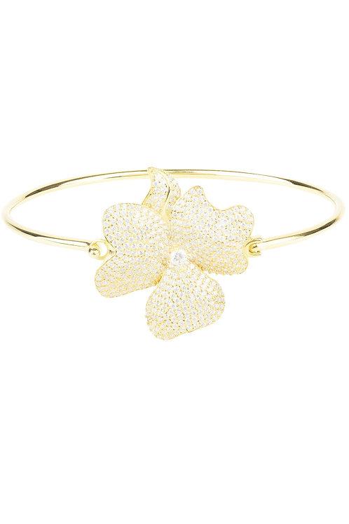 Flower Large Statement Cuff Bracelet Gold