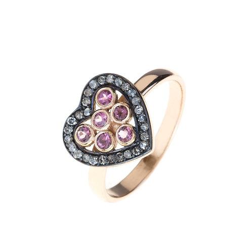 Diamond Heart Pink Tourmaline Ring Rosegold