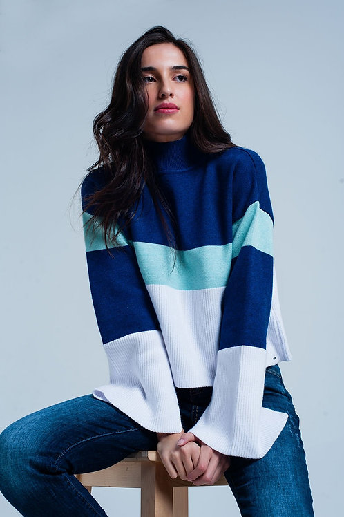 Blue Striped High Neck Sweater