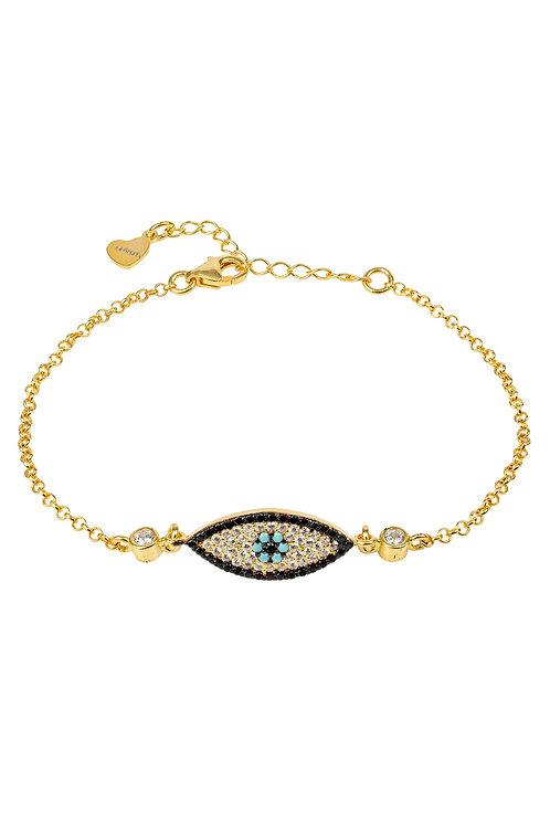 Evil Eye Eliptical Bracelet Gold