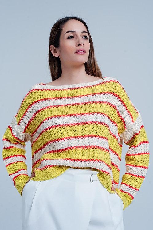 Yellow Striped Rib Stitch Knitted Sweater