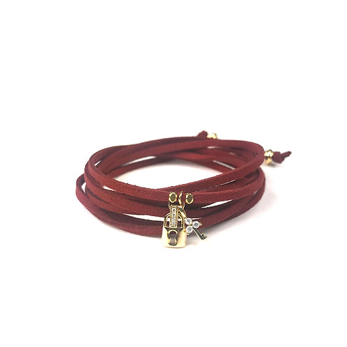 Lock and Key Burgundy Suede Wrap Bracelet
