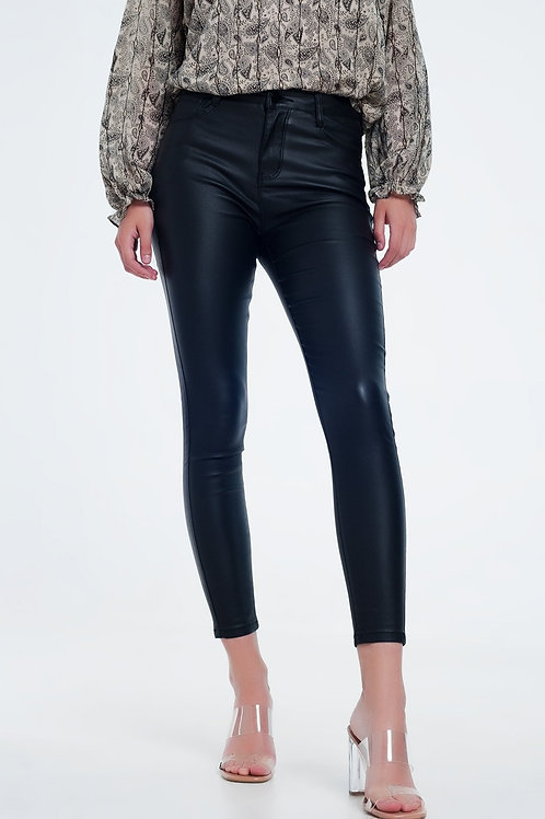 Push Up High Waist Black Pants in Super Skinny Fit