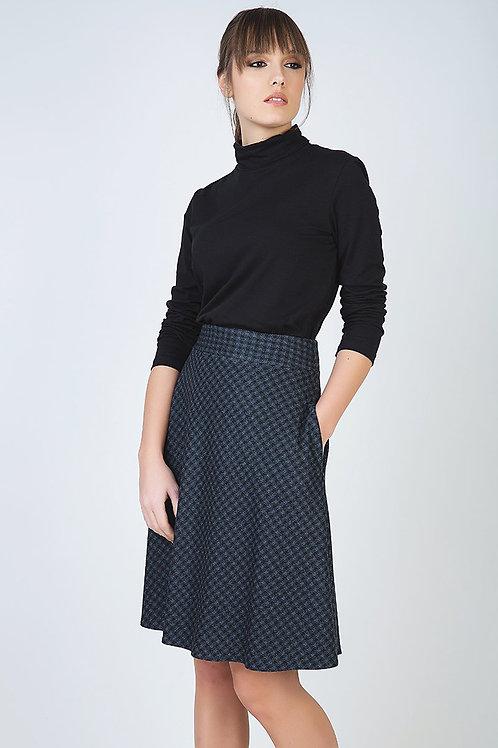Check Flare Skirt