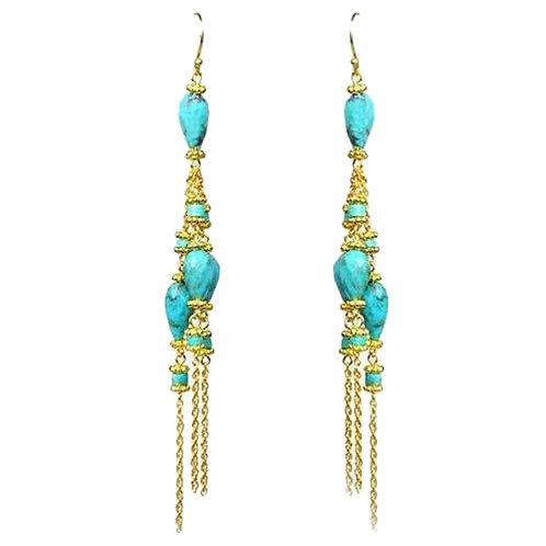 Turquoise Linear Chandelier Earrings