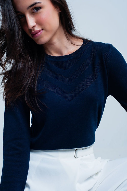 Navy Woolen Sweater With Textured Detail