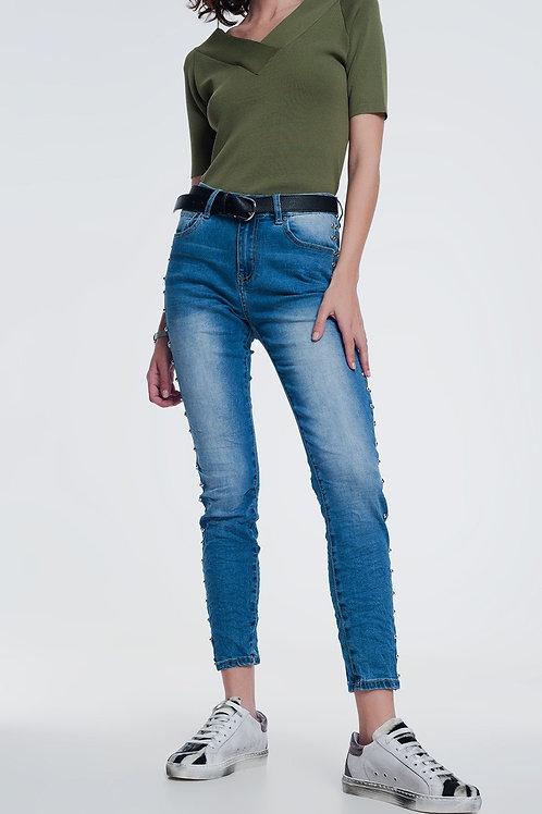 Wrinkled Denim Studded Skinny Jeans