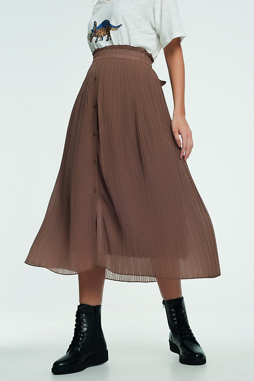 Floaty Midi Skirt With Button Front in Beige