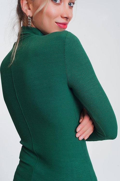 Turtle Neck Fine Sweater in Green