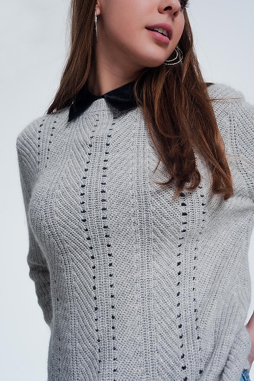 Gray Sweater With Knitted Stripe Detail