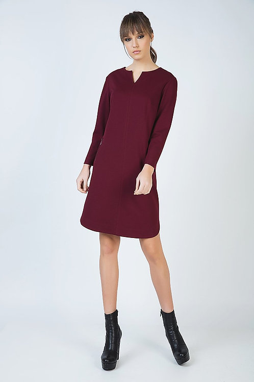 Long Sleeve Sack Dress in Punto Di Roma Fabric