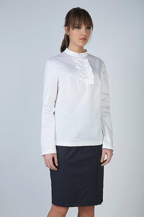 White Frill Detail Blouse in Poplin Fabric