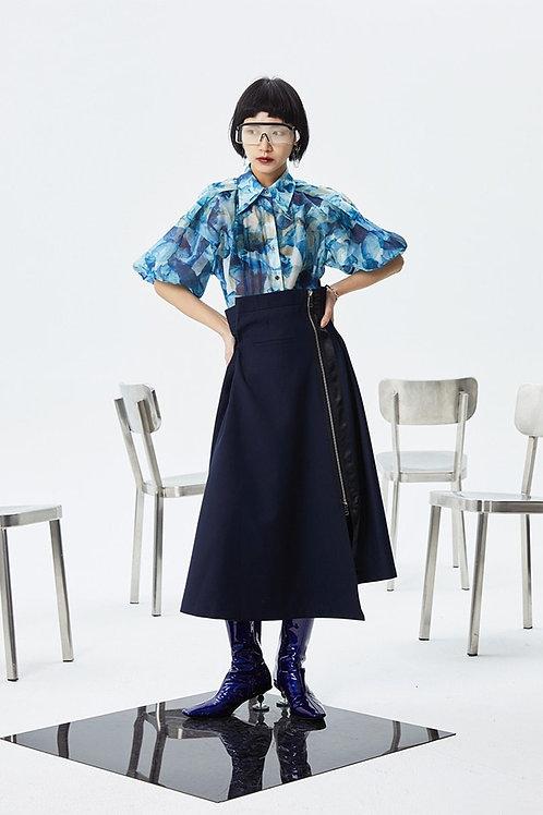 Kokone Pleated Asymmetrical Skirt - Navy Blue