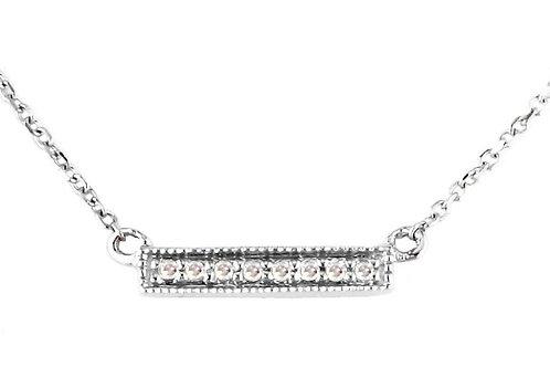 14k White Gold Petite Diamond Bar Necklace