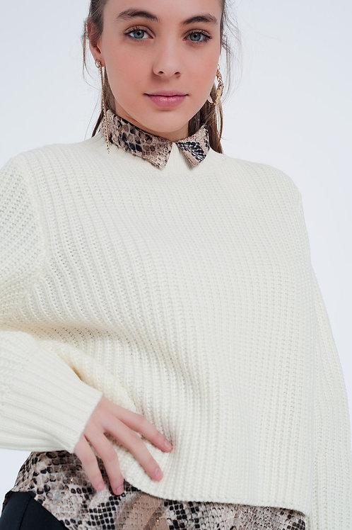 Cream Sweater With Crew Neck