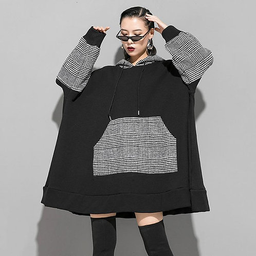 Akari Loose Hooded Plaid Sweatshirt