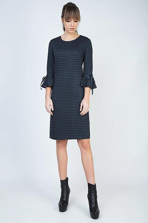 Bell Sleeve Straight Check Dress