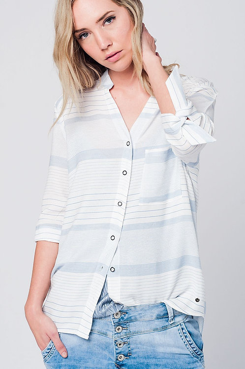 Blue Stripe Shirt With Tie Sleeves