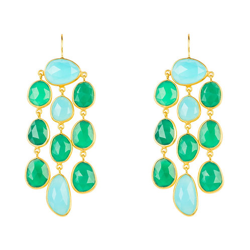 Splash Gemstone Earring Gold Green Onyx