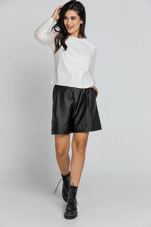 Black Faux Leather Bermuda Shorts by Conquista Fashion