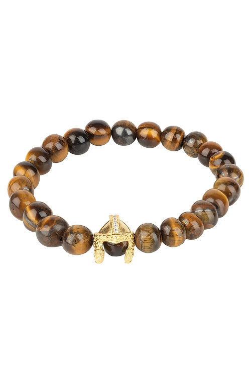 Roman Spartan Warrior Gemstone Bracelet Tigers Eye Gold