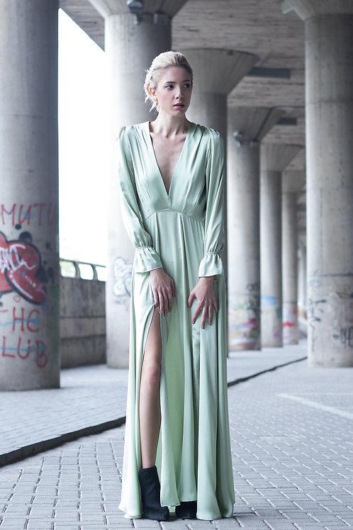Mint Satin Silk Maxi Dress