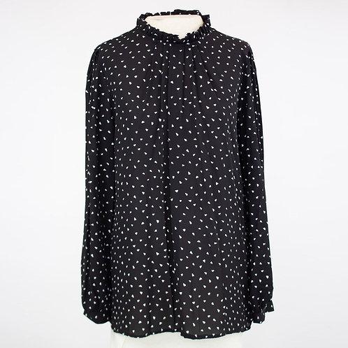 Ruffle Neck Long Sleeve Blouse - Black