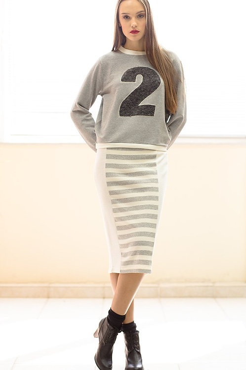Ecru and Grey Striped Pencil Skirt