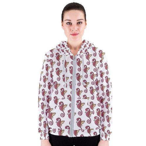 Red Seahorse Pattern Women's Zipper Hoodie