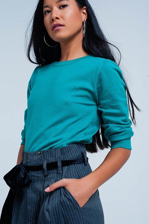 Green Fine Knit Sweater in 3/4 Sleeve
