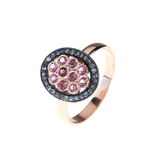 Diamond Pink Tourmaline Oval Ring